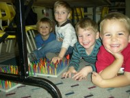 Creative stations throughout the preschool